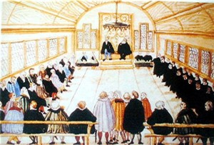 Anabaptist and Protestant leaders in the council building