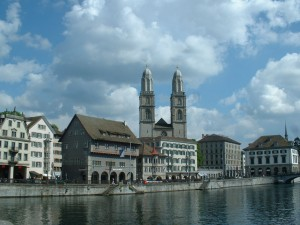 Zurich with the Limmat river in the foreground and the Grossmunster in the background